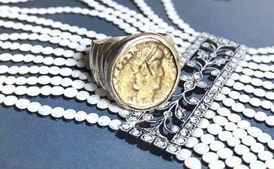 Anello chavalier con moneta argento 925