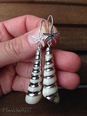 Orecchini con conchiglie vere e monachelle a stella marina in argento 925