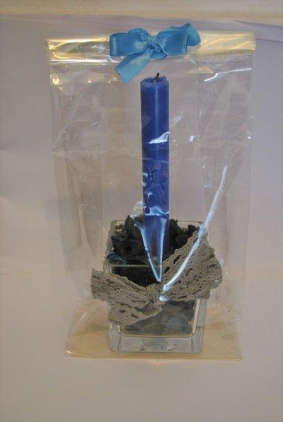 Candele con potpourri e base in vetro