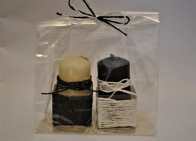 Set 2 candele decorate con base