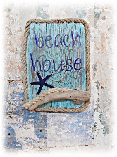 """""""beach house"""" quadro con tavola di mare e cima"""