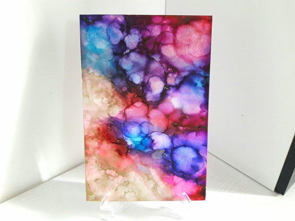 Quadro nr.2 // Fluid Art con Colori ad Alcool con Base d' Appoggio // Lucidato con Resina // Pezzo Unico // Fatto a Mano ❤