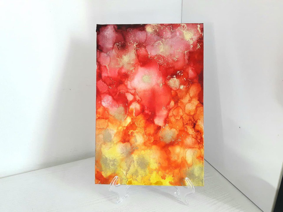 Quadro nr.4 // Fluid Art con Colori ad Alcool con Base d' Appoggio // Lucidato con Resina // Pezzo Unico // Fatto a Mano ❤