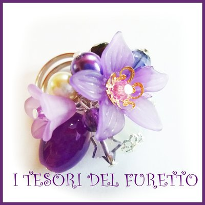 "Anello "" Fufu Flower Viola ""  fiori lucite primavera estate regolabile perle cerimonia damigella idea regalo"