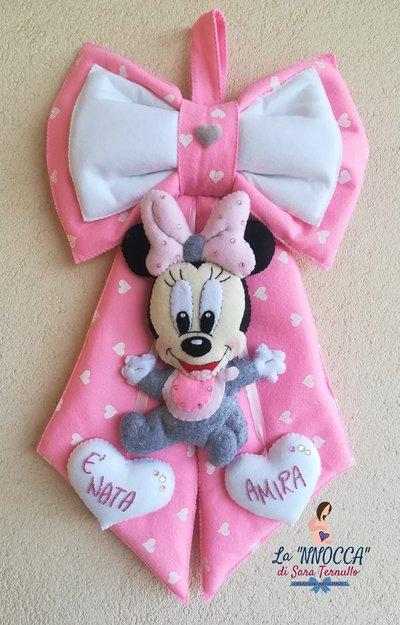 Fiocco nascita baby Minnie (rosa/grigio)