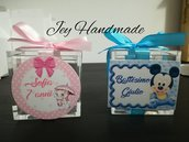 Scatolina plexiglass bomboniera bomboniere segnaposto Calamita calamita topolino Mickey Mouse uno compleanno festa compleanno confetti Smarties gonna crepla glitter