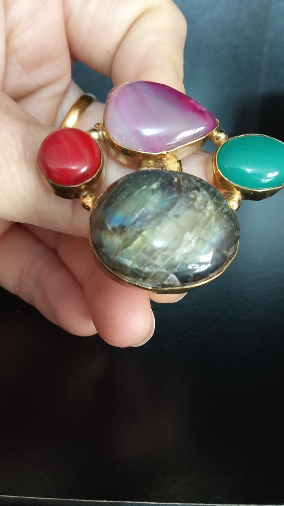 anello regolabile pietre incastonate