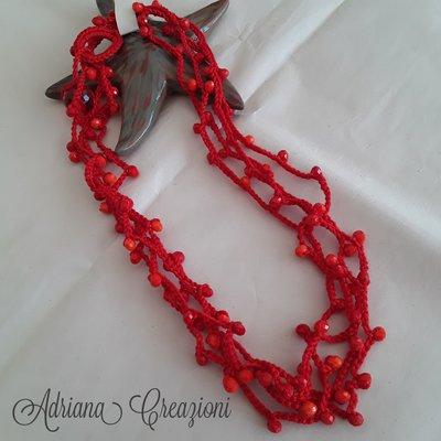 Collana Multi filo colore rosso