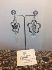 Orecchini con filigrana tridimensionale a fiore, pendente in cristallo Swarovski