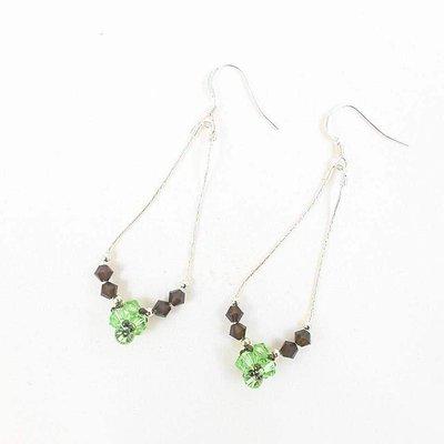 Argento 925, cristallo swarovski, orecchini pendenti, verdi e marroni, pezzo unico, modello originale, idea regalo, festa della mamma, compleanno.
