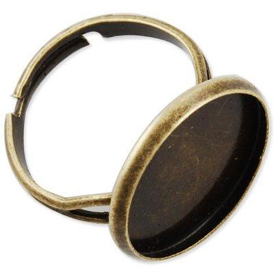 5 anelli bronzo con base per cabochon 16 mm regolabili
