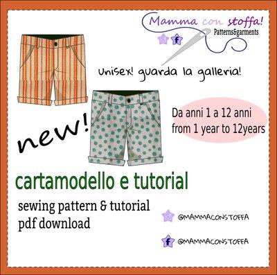 cartamodello pantaloncino bermuda in taglie 1 anno a 12 anni!