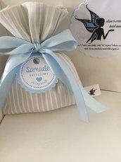 Sacchettino porta confetti beige a righe