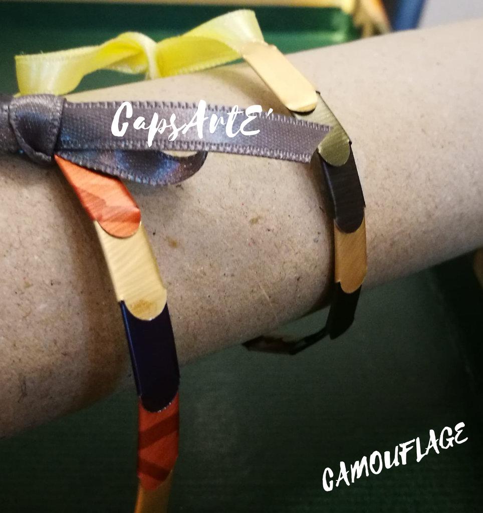 Bracciale uomo/bambino multicolore con capsule caffè fatto a mano - Linea Camouflage man
