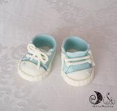Cake topper scarpette bimbo per battesimo, primo compleanno, personalizzabile, decorazione per torta scarpette
