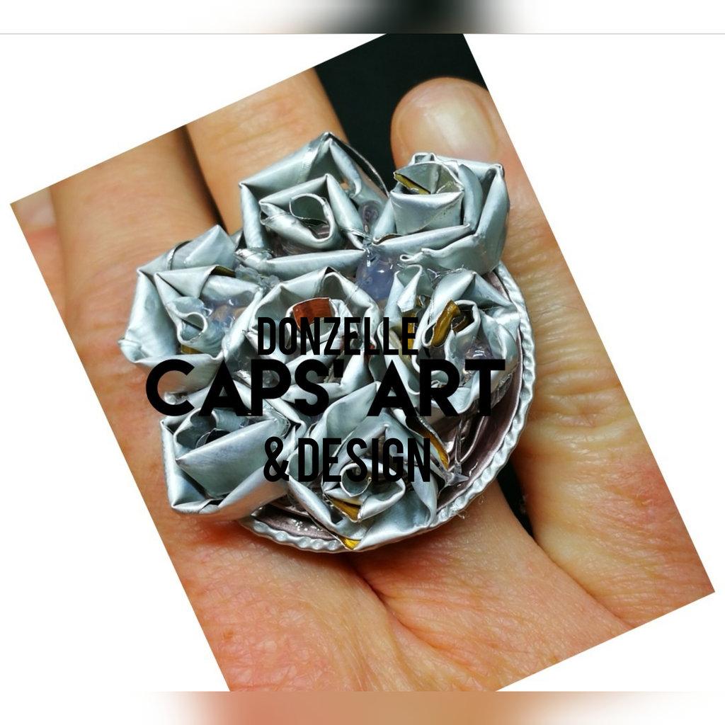 Anello fatto a mano color argento con capsule del caffè - Linea Dear