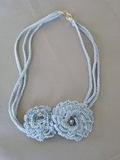 """Collana """"Crochet"""" azzurra"""