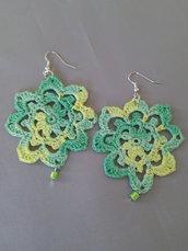"""Orecchini """"Crochet"""" verde melange"""