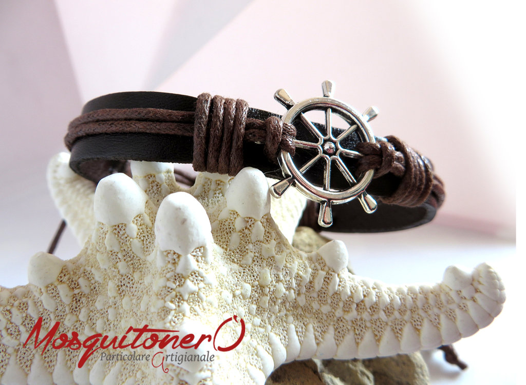 Bracciale uomo nautico in pelle e corda con Timone in metallo argento, stile marinaio,per lui,idea regalo ragazzo