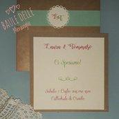 Partecipazione matrimonio nozze shabby con carta Kraft e iniziali degli sposi