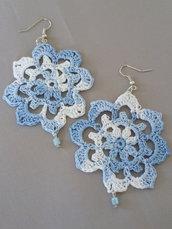 "Orecchini ""Crochet"" azzurro melange"