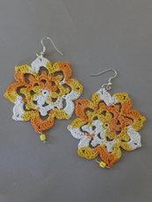 "Orecchini ""Crochet"" arancio melange"
