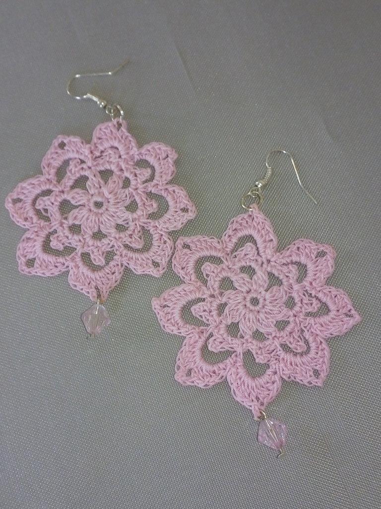 """Orecchini """"Crochet"""" rosa"""