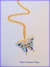 Collana con farfalla blu in fimo dorata, idea regalo mamma, regalo testimone, gioielli sposa, gioielli farfalla, gioielli etnici, estivi