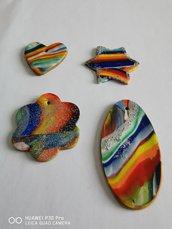 ciondoli in fimo multicolore
