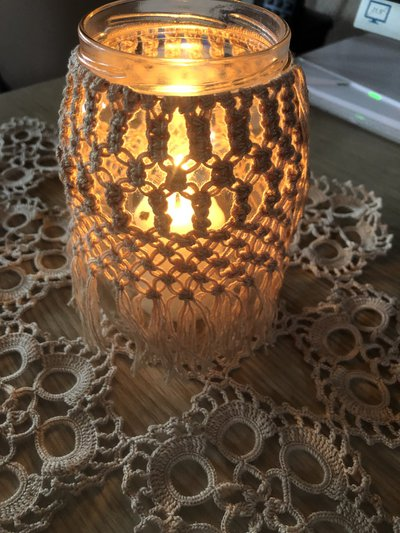 Vasetto macrame, porta candele in macrame