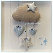 Fiocco nascita nuvola in cotone ecrù con cuori e stelle sui toni azzurro e beige