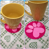 Sottobicchiere feltro zampa cane gatto