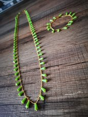 Collana e bracciale cristalli verdi