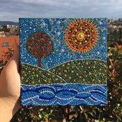 Quadretto con paesaggio dipinto con la tecnica del puntinismo