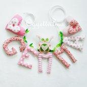 Gemma: una ghirlanda di lettere di stoffa imbottite rosa e bianche per decorare la sua cameretta con il suo nome ed una simpatica civetta