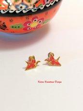 Orecchini gru origami rossi dorati, gioielli origami, gioielli portafortuna, regalo amica, regalo bambina, regalo origami, orecchini uccello