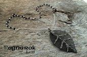 Collana scheletro foglia nero acciaio goth gothic dark moda stile