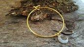 Bracciale acciaio dorato luna in zama anallergico inossidabile moda idea regalo festa