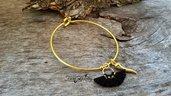 Bracciale dorato corno nappa acciaio inossidabile anallergico idea regalo donna ragazza moda bigiotteria