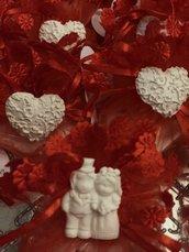 Sacchettini segnaposto sposini cuore matrimonio promessa anniversario