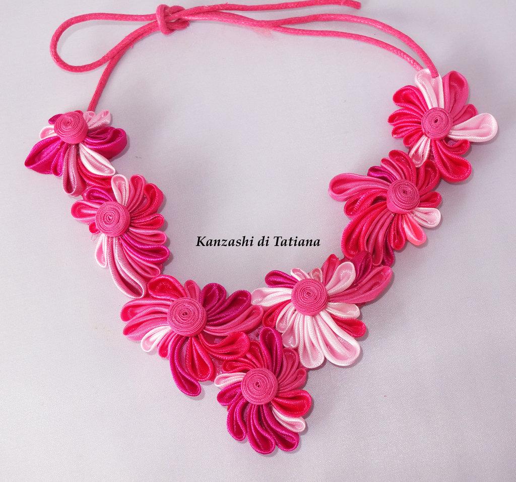 Collana kanzashi con fiori 4.2