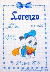 Quadretto nascita - fiocco nascita - PAPERINO GATTONI -punto croce- B126