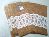 Set portaposate in tela yuta e pizzo bianco, idea regalo shabby.