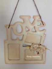 Portafoto con scritta love in legno da parete multiplo fai da te