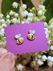 Orecchini ape origami dorati, gioielli origami, gioielli portafortuna, regalo amica, regalo bambina, regalo origami, orecchini uccello
