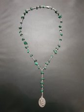 Collana rosario angelico in malachite.  San Michele Arcangelo