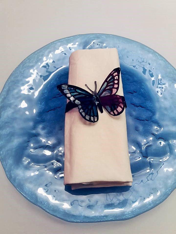 6 Legatovaglioli farfalla in blu