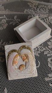 Stampo scatola libro porta confetti/rosario cm.6,5x5,5x3,5h sacra famiglia