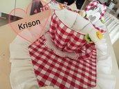 tazza porta cialde stile country quadri rossi e bianchi