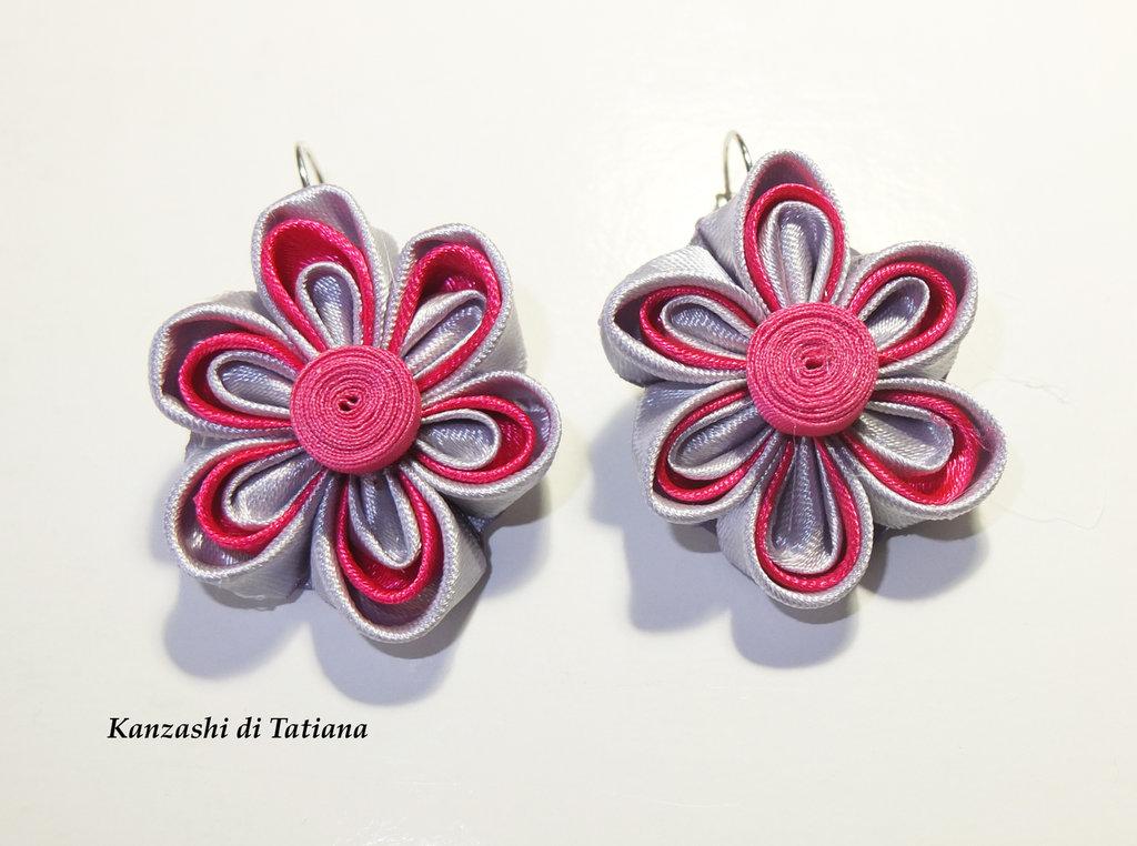 Orecchini kanzashi fiori 1.2